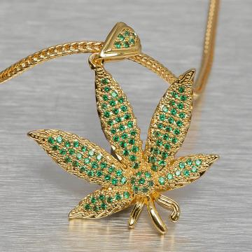 KING ICE Necklace Jungl Julz Weed Leaf gold colored