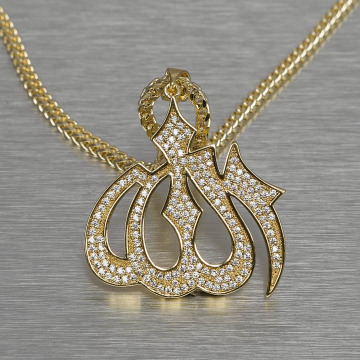 KING ICE Necklace Allah gold colored