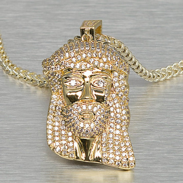 KING ICE Necklace Small Solid Jesus gold colored