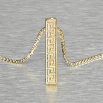 KING ICE Necklace Greek Key Pillar gold colored