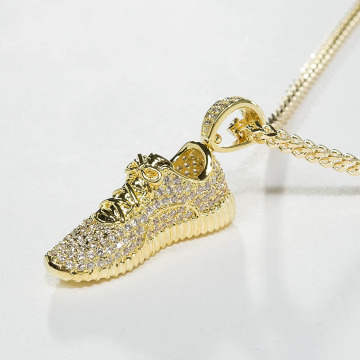 KING ICE Necklace Gold_Plated CZ Lifestyle Sneaker gold colored