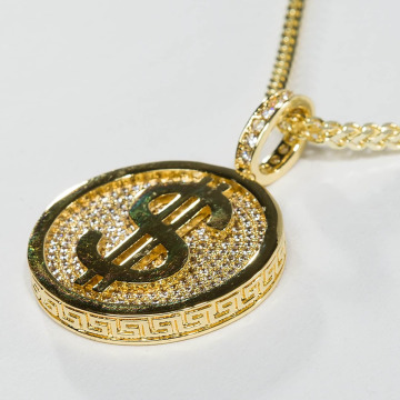 KING ICE Necklace Gold_Plated CZ Gold_Fortune Coin gold colored