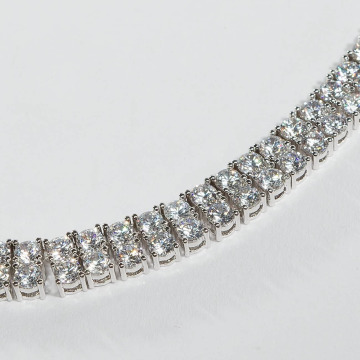 KING ICE Necklace Rhodium_Plated 8mm Dual Row Tennis Style silver colored