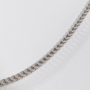 KING ICE Necklace Rhodium_Plated 5mm Stainless Steel Franco Chain silver colored