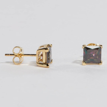 KING ICE oorbel Gold_Plated 6mm 925 Sterling_Silver CZ Princess Cut goud