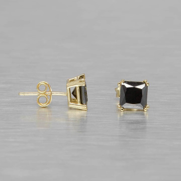 KING ICE Pendiente Gold_Plated 6mm 925 Sterling_Silver CZ Black Princess Cut oro