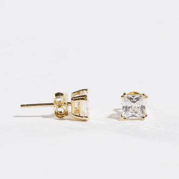 KING ICE Pendiente 4mm 925 Sterling_Silver Princess Cut oro
