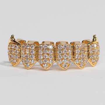 KING ICE Sonstige Gold_Plated CZ Dracula Teeth Bottom goldfarben