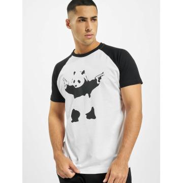 Merchcode T-shirt Banksy Panda Raglan bianco