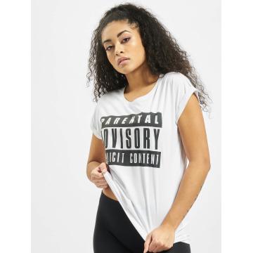 Mister Tee Camiseta Ladies Parental Advisory blanco