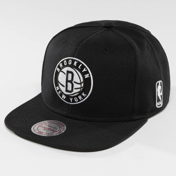Mitchell & Ness Snapback Caps Black & White Brookyln Nets musta