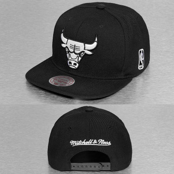 Mitchell & Ness Snapback Caps Black & White Chicago Bulls sort