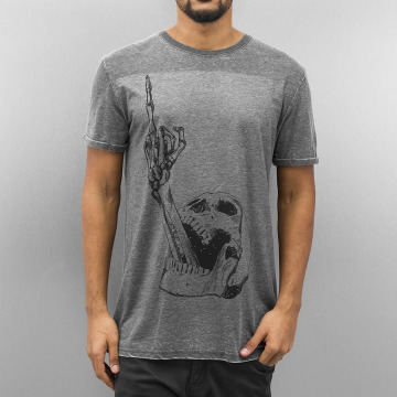 Monkey Business T-shirt Finger Skull grigio