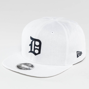 New Era Casquette Snapback & Strapback Linen Felt Detroit Tigers Cooperstown blanc