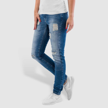 Noisy May Skinny jeans nmLucy Super Slim Rip Patch blå