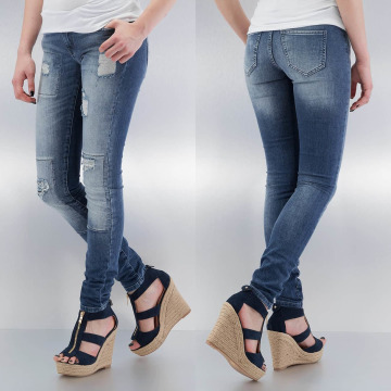 Noisy May Skinny Jeans mEve Low Slim Rip Patch blau