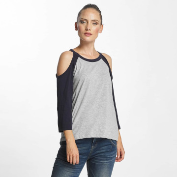 Noisy May T-Shirt manches longues nmGradu 3/4 Cold shoulder gris