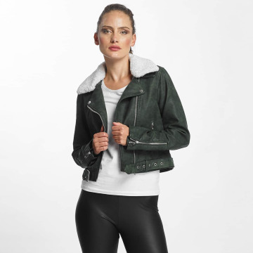 Only Leather Jacket onlDanielle Faux Leather Biker green
