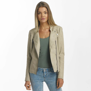 Only leren jas onlAva Faux Leather Biker beige