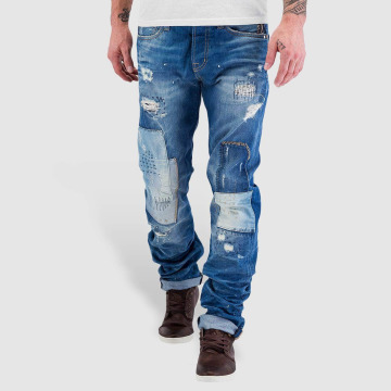 Red Bridge Straight Fit Jeans Patches blau