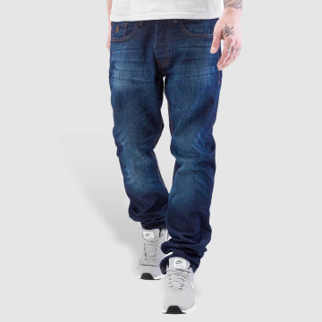 Rocawear Straight Fit Jeans Leather Patch Relaxed blå