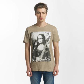 SHINE Original T-Shirty Collin Denim Rebel Print brazowy