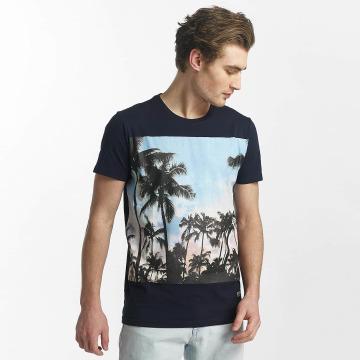 SHINE Original T-skjorter Lupe Palm Print blå