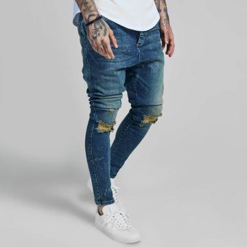 Sik Silk Skinny Jeans Western Drop Crotch blue