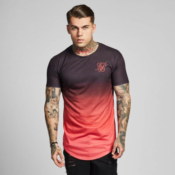 Sik Silk T-shirt Curved Hem Fade rosa