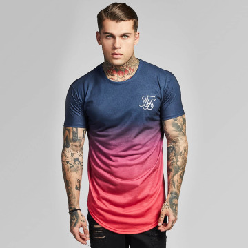 Sik Silk T-shirt Curved Hem Faded rosso