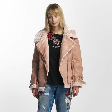 Sixth June Lederjacke Perfecto Fur rosa