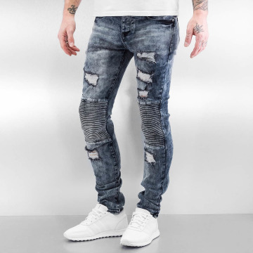 Sixth June Skinny Jeans Destroyed Biker modrý