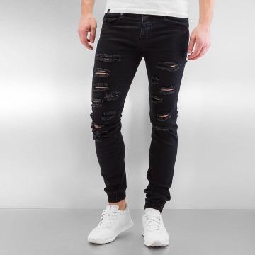 Sixth June Slim Fit Jeans Destroyed svart