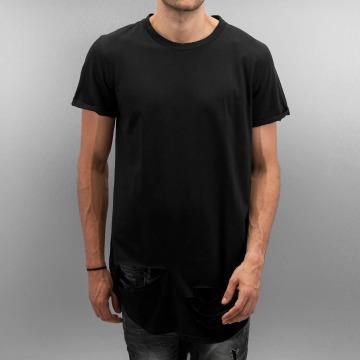 Sixth June T-shirt longoversize Destroyed Rounded Bottom noir
