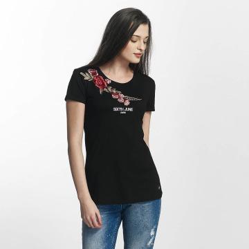 Sixth June t-shirt Rose Stich zwart