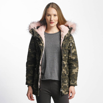 Sixth June winterjas Oversize With Fake Fur Hood camouflage