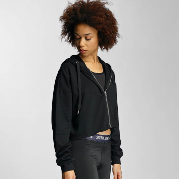 Sixth June Zip Hoodie Destroyed Crop schwarz