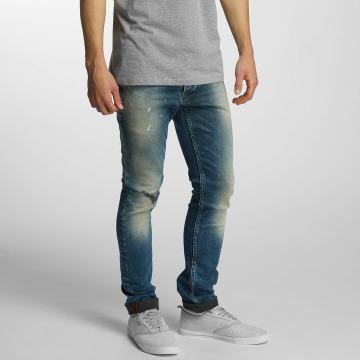 Solid Straight Fit Jeans Slim blå
