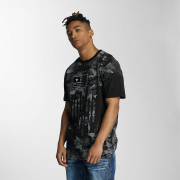 Southpole T-Shirt Camo Print Fur Technique black