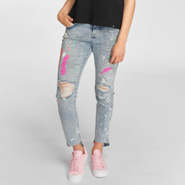Superdry Straight fit jeans Riley Girlfriend blauw