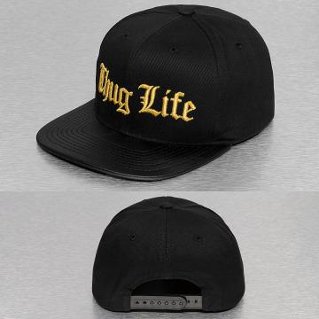 Thug Life Snapback Cap Golden Logo schwarz