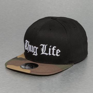 Thug Life Snapback Caps White Logo svart