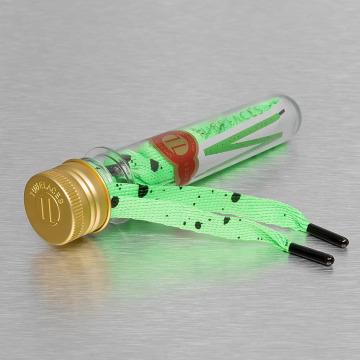 Tubelaces Snørebånd White Flat Splatter grøn
