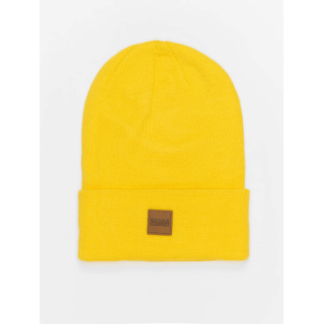 Urban Classics Beanie Leather Patch Long geel