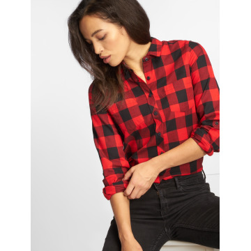 Urban Classics Bluse Ladies Turnup Checked Flanell rot