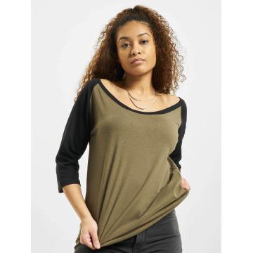 Urban Classics Camiseta de manga larga Ladies 3/4 Contrast Raglan oliva