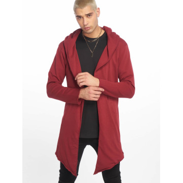 Urban Classics Cardigan Long Hooded Open Edge red