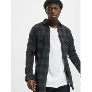Urban Classics Hemd Side Zip Leather Shoulder Flanell schwarz