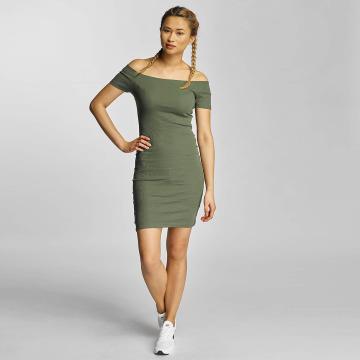 Urban Classics jurk Off Shoulder Rib olijfgroen