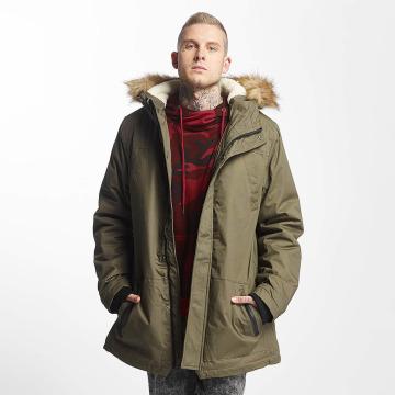 Urban Classics Kabáty Heavy Cotton Imitation Fur olivová